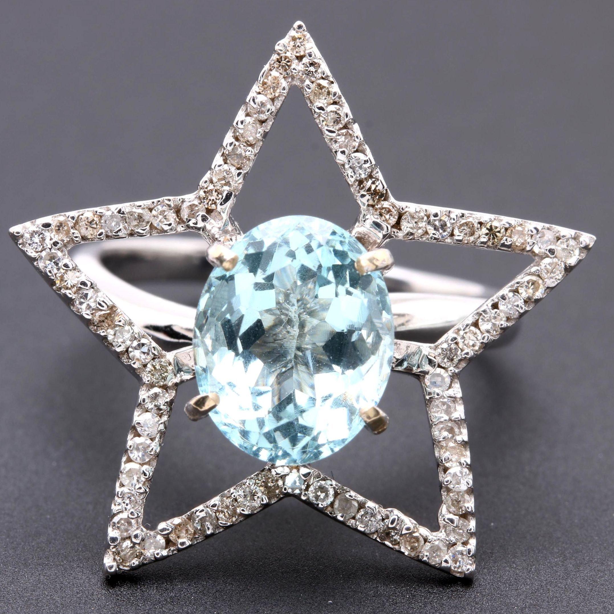 18K White Gold Blue Glass and Diamond Star Ring