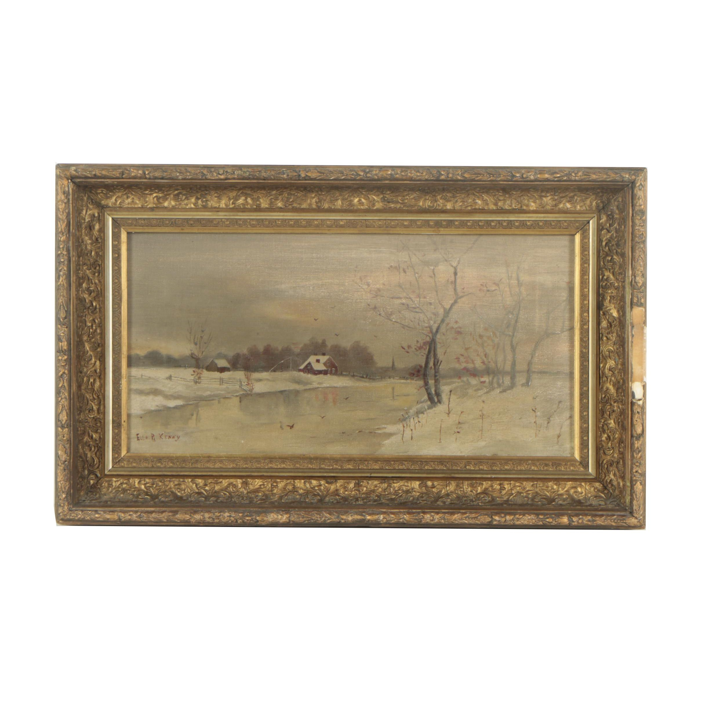 Ella R. Kenny Oil Painting of a Winter River Scene