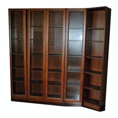 Contemporary Wood Grained Laminate Bookcases with Glass Panel Cabinet Doors - Online Furniture Auctions Vintage Furniture Auction Antique