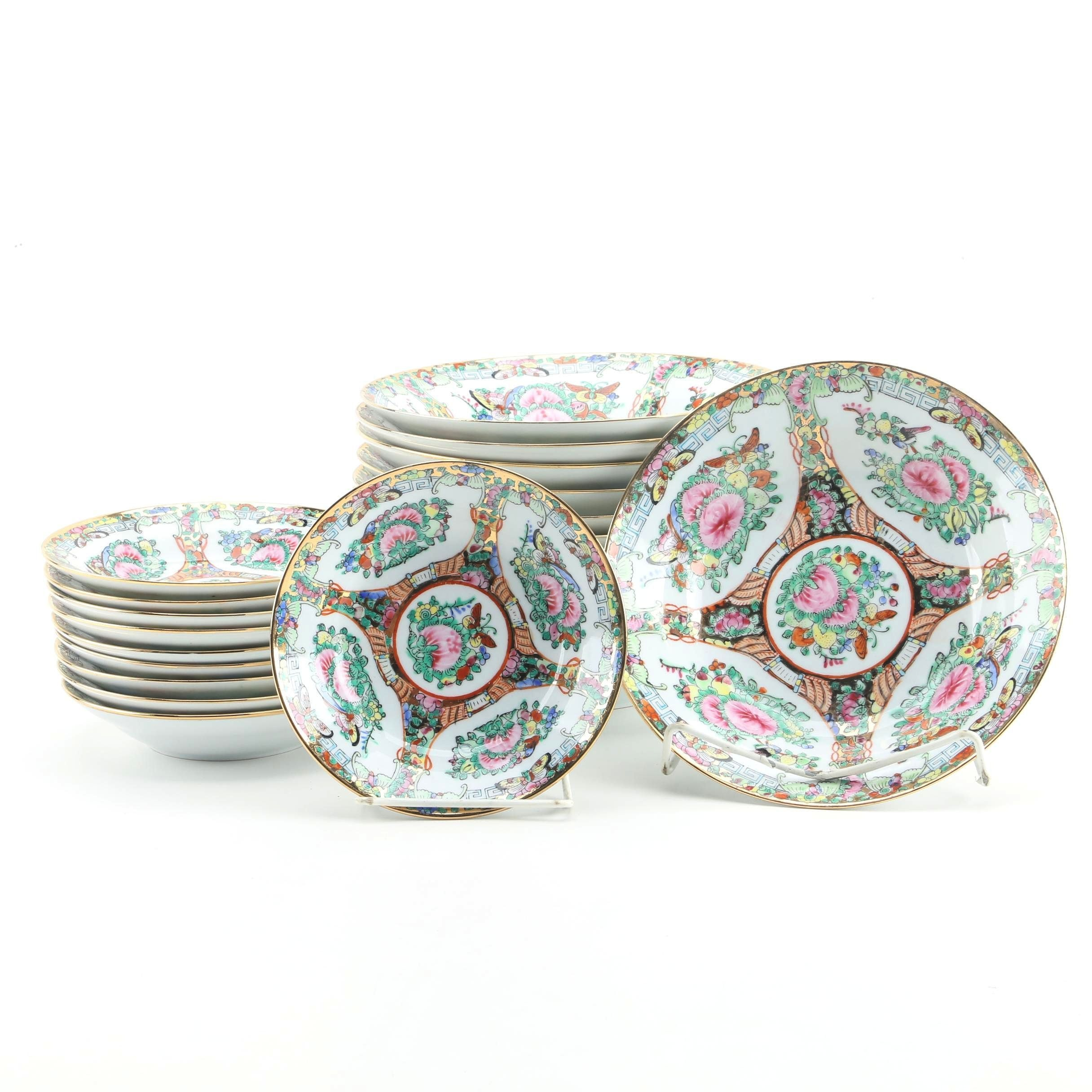 Vintage Chinese Rose Medallion Porcelain Bowls