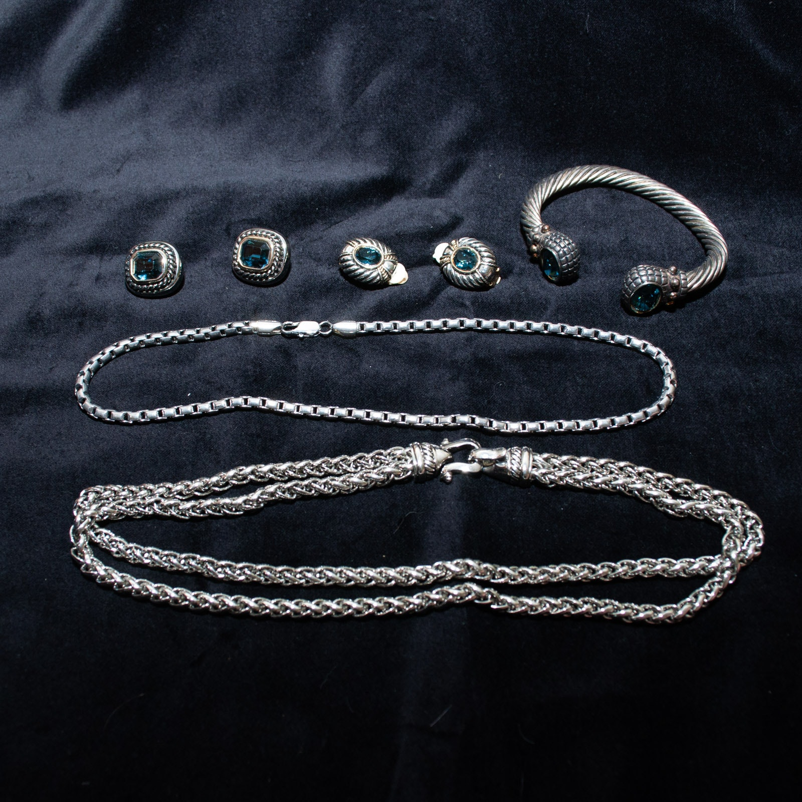 Silver and Gold Tone Cable Jewelry with Blue Glass Stones