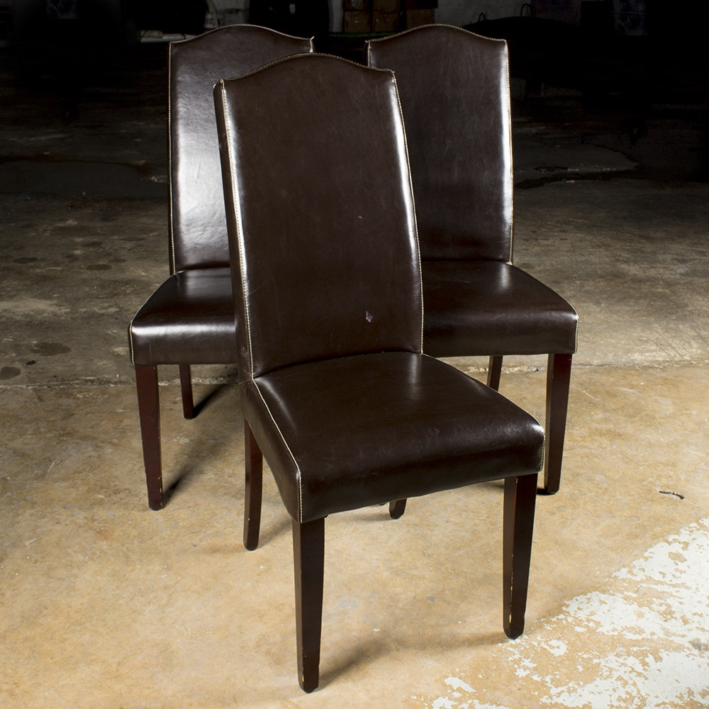 Brown Faux Leather Upholstered Side Chairs