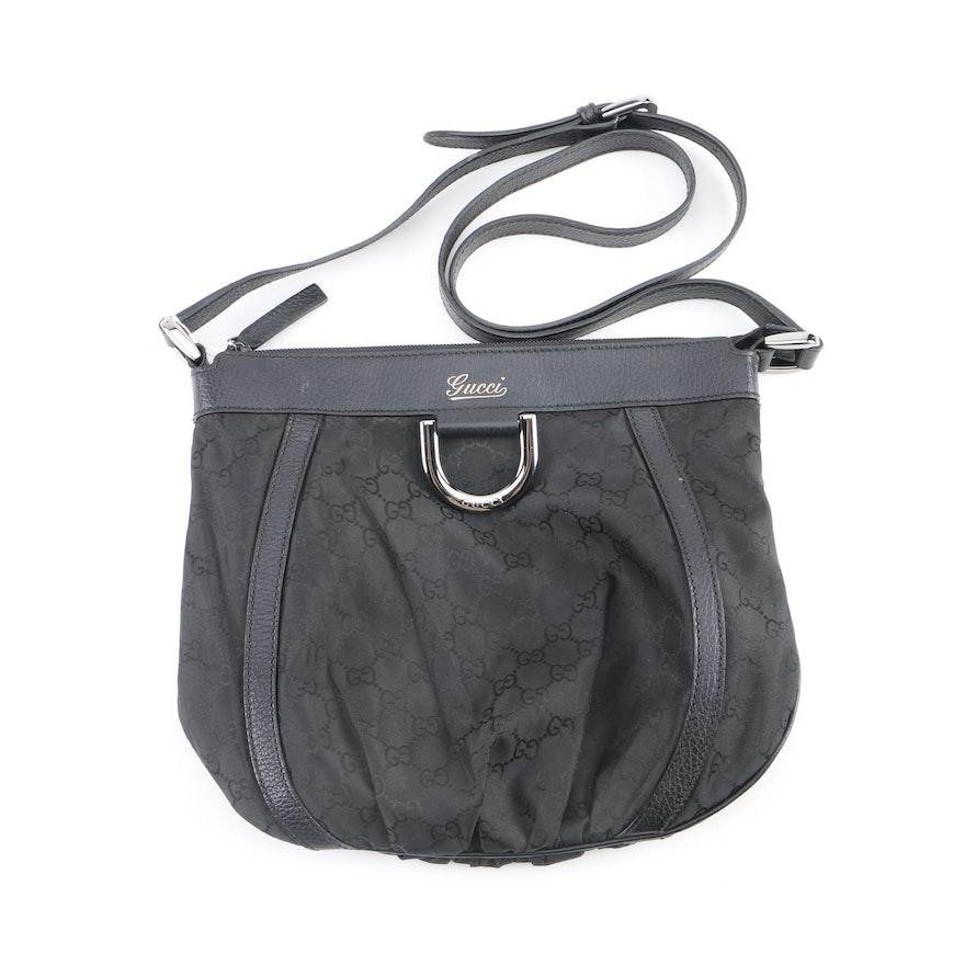 901952a88c10b6 Gucci Black GG Monogram Nylon D-Ring Crossbody Bag : EBTH