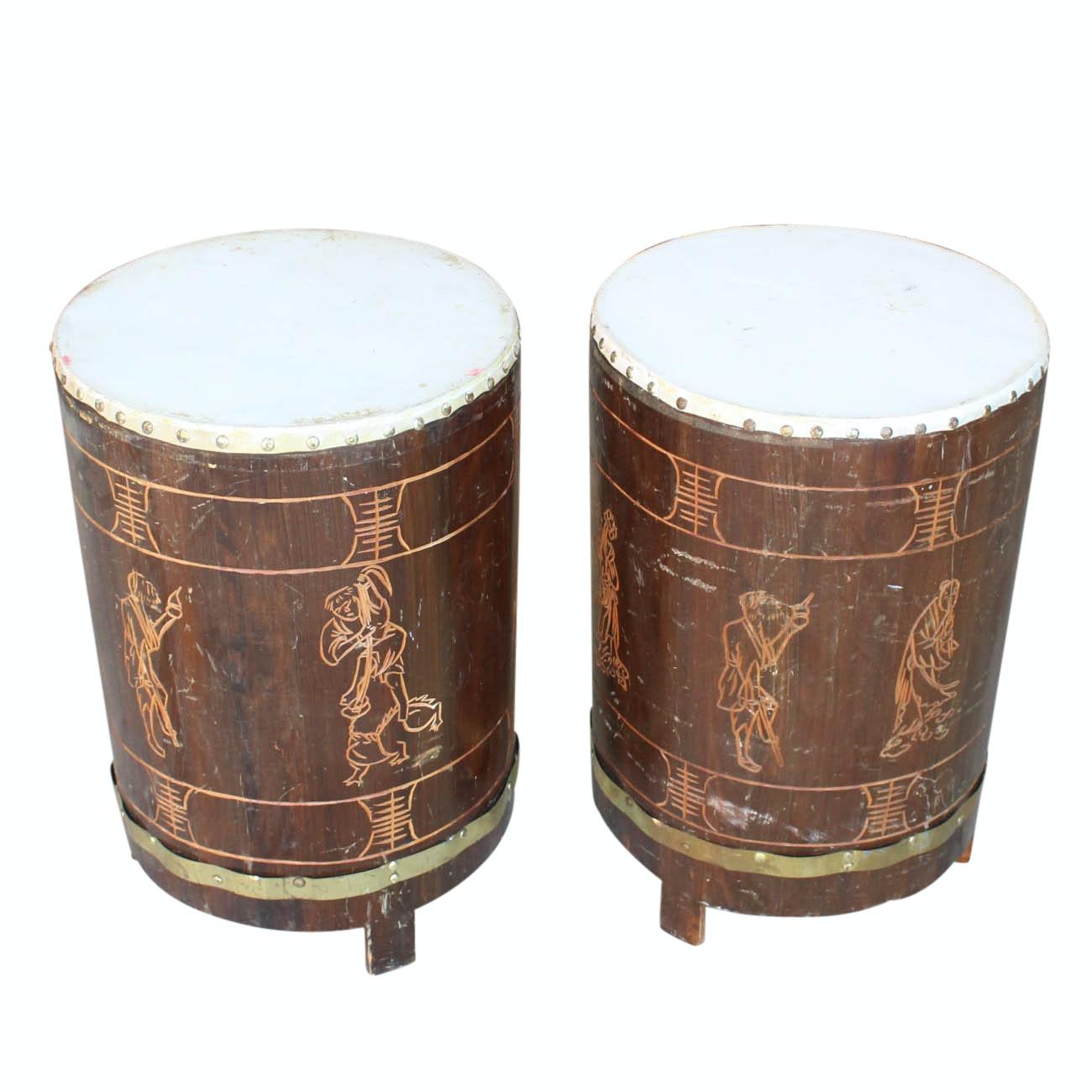 Pair of Carved Wood Drums