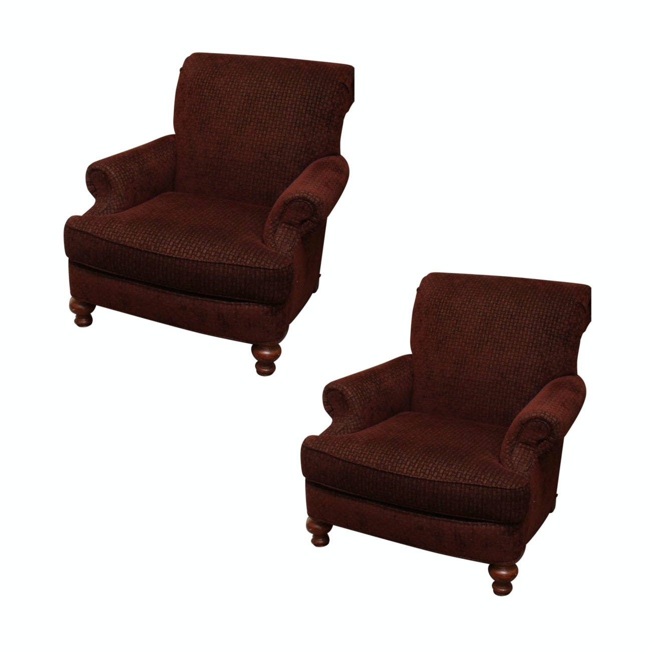 Pair of Clayton Marcus Handcrafted Upholstered Armchairs