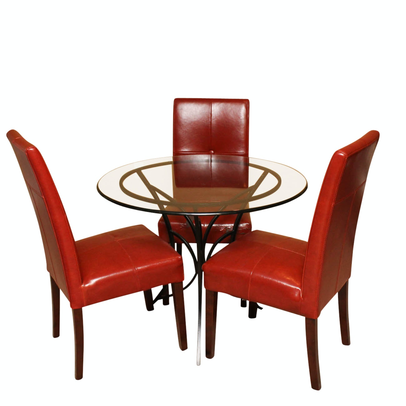 Glass Top Bistro Dining Table and Red Chairs