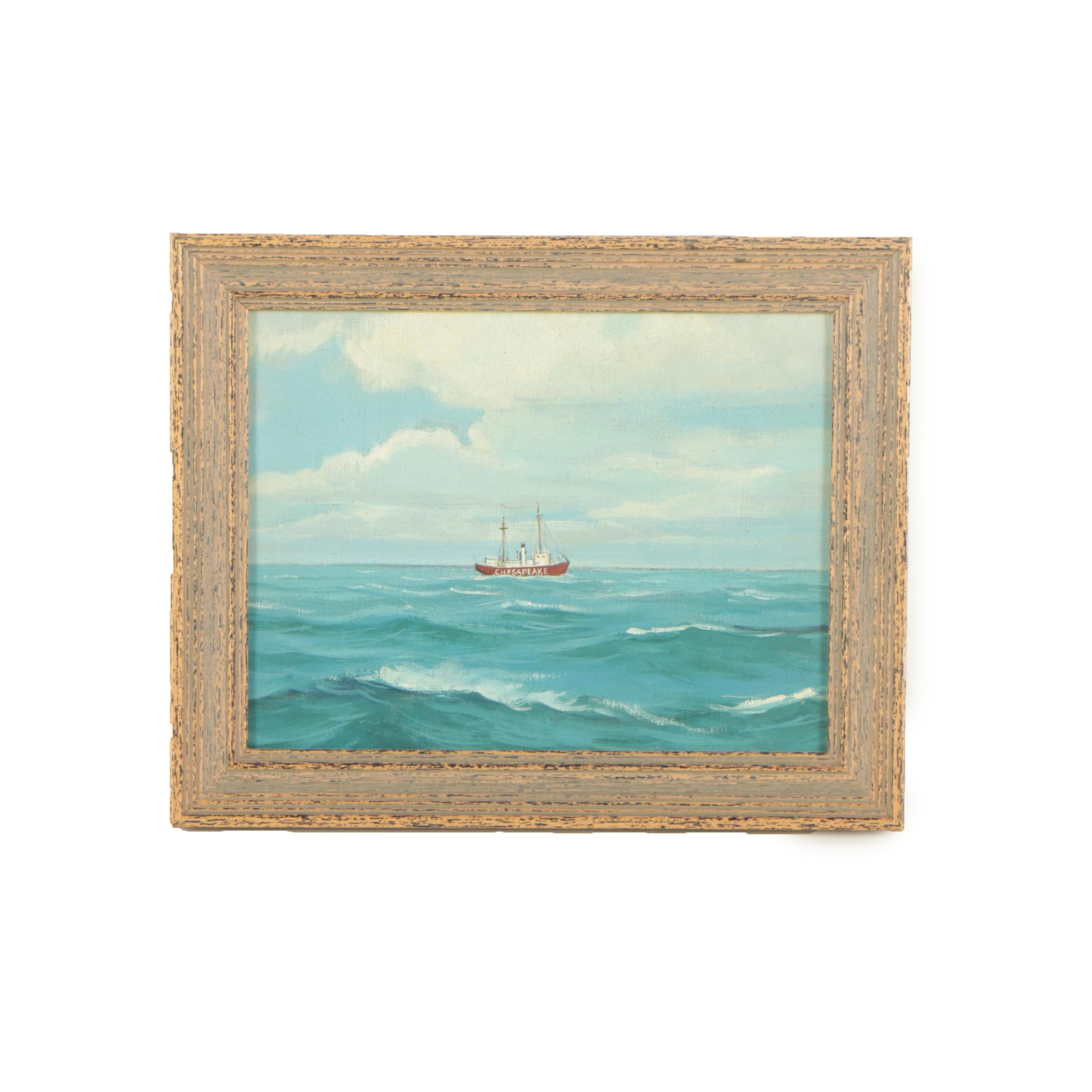 Miniature Oil on Board Painting of a Steamship at Sea