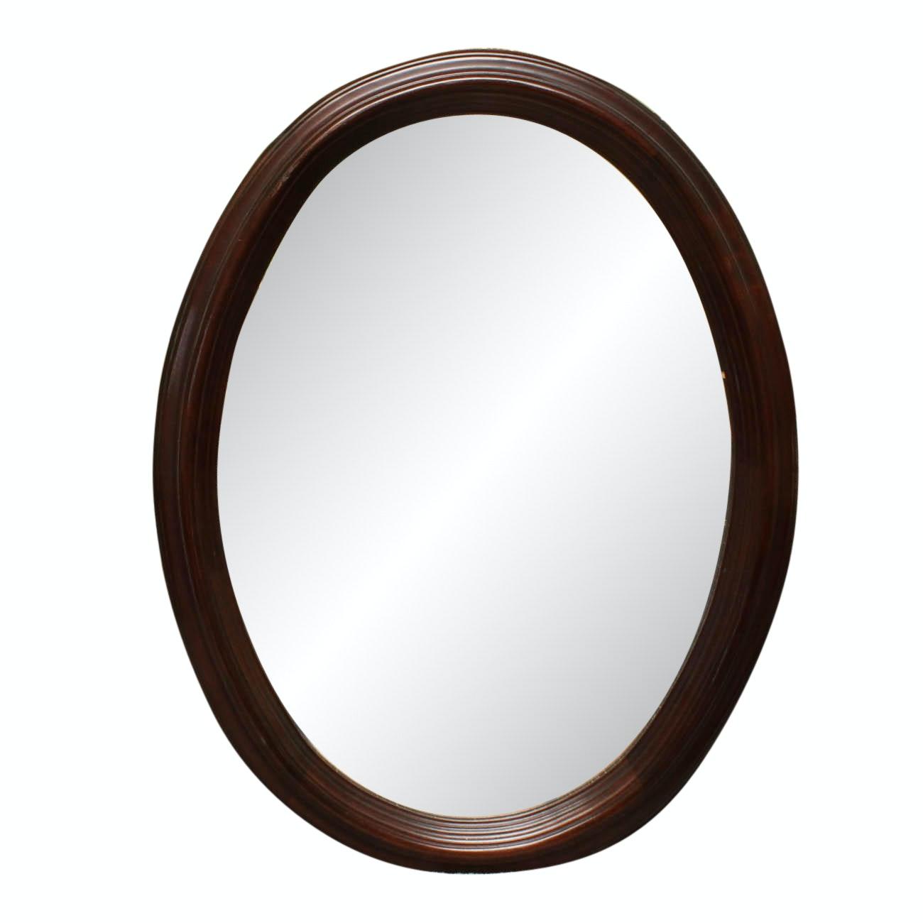 Vintage Walnut Oval Beveled Wall Mirror