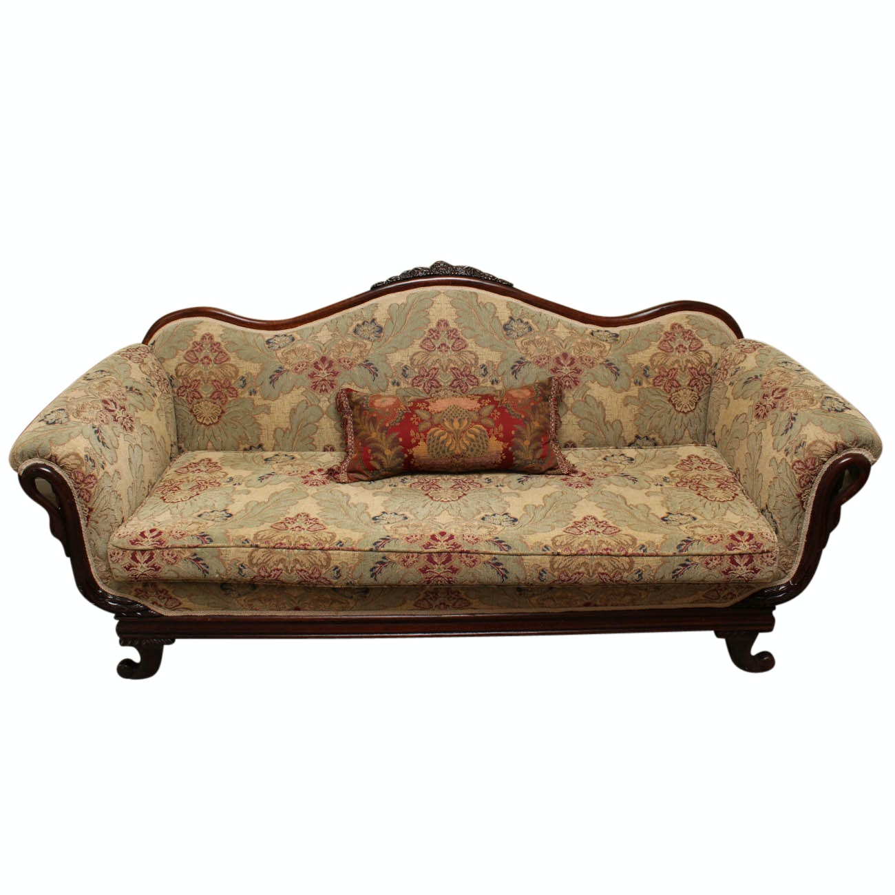 Chippendale Style Swan Accented Sofa