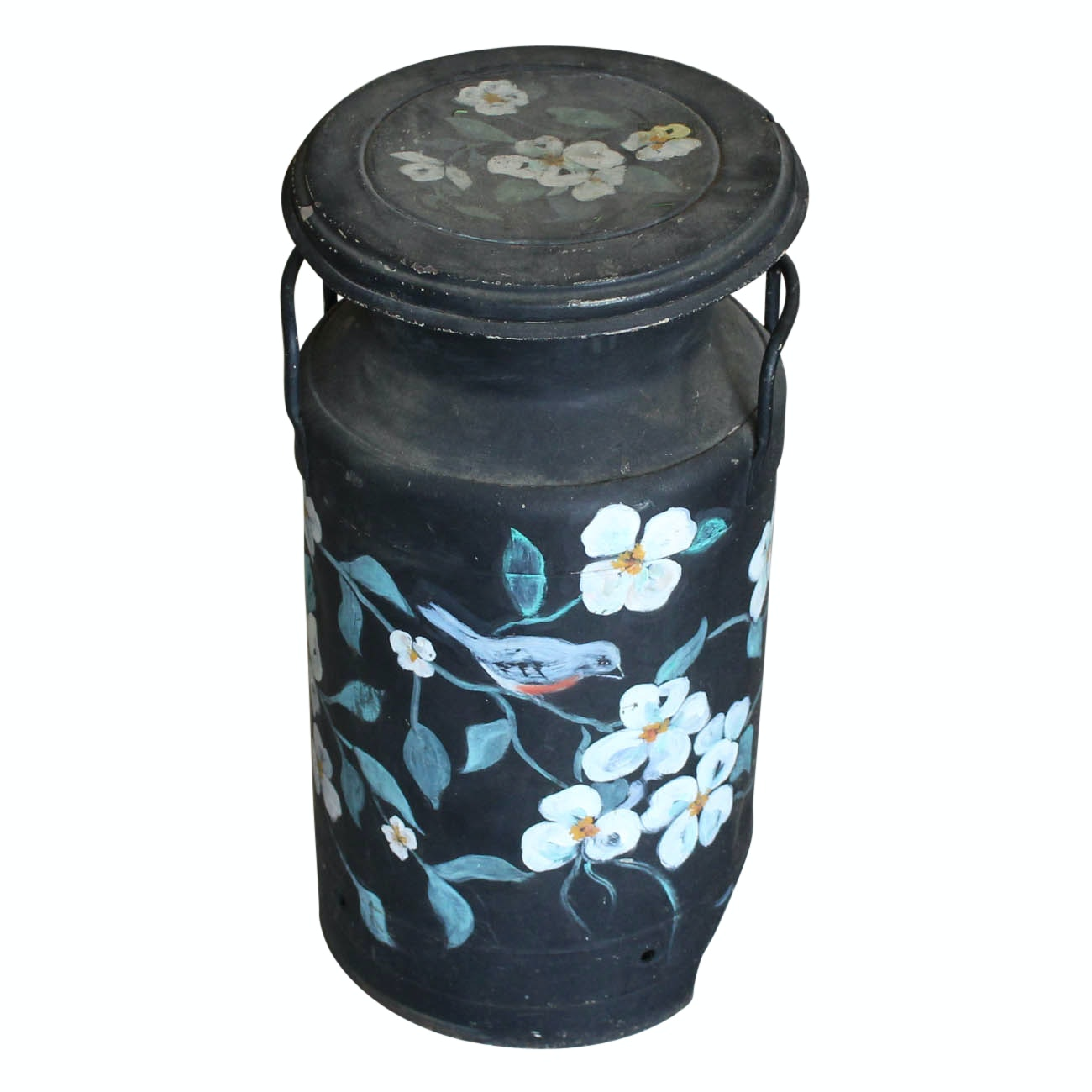 Vintage Hand Painted Metal Jug