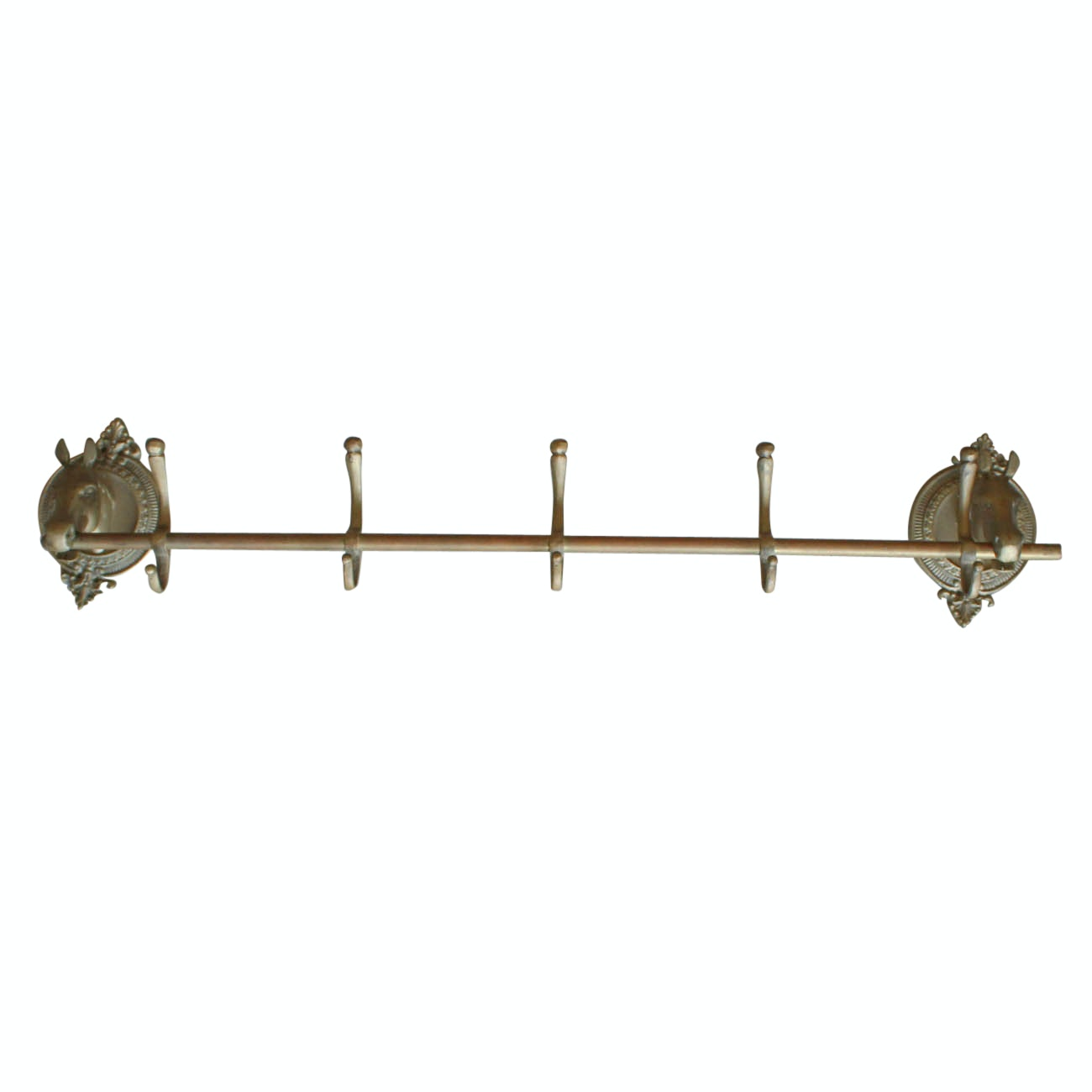 Brass Tone Iron Wall Hooks with Horse Heads