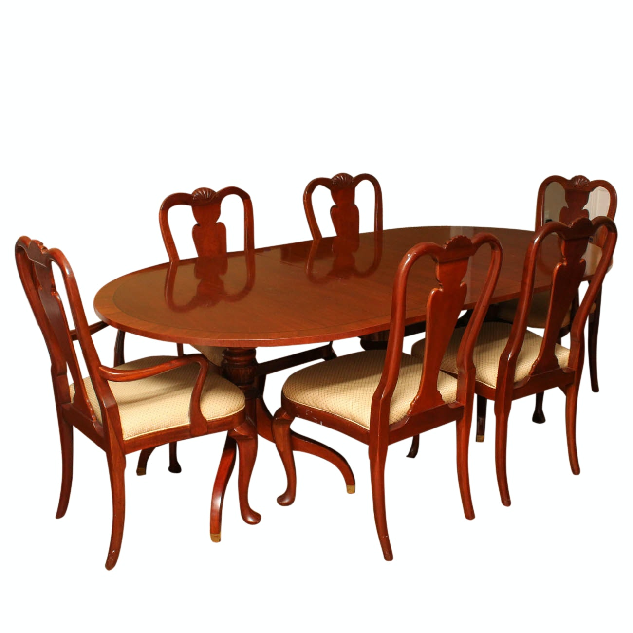Baker Furniture, Milling Road Collection, Leaf Dining Table and Chairs
