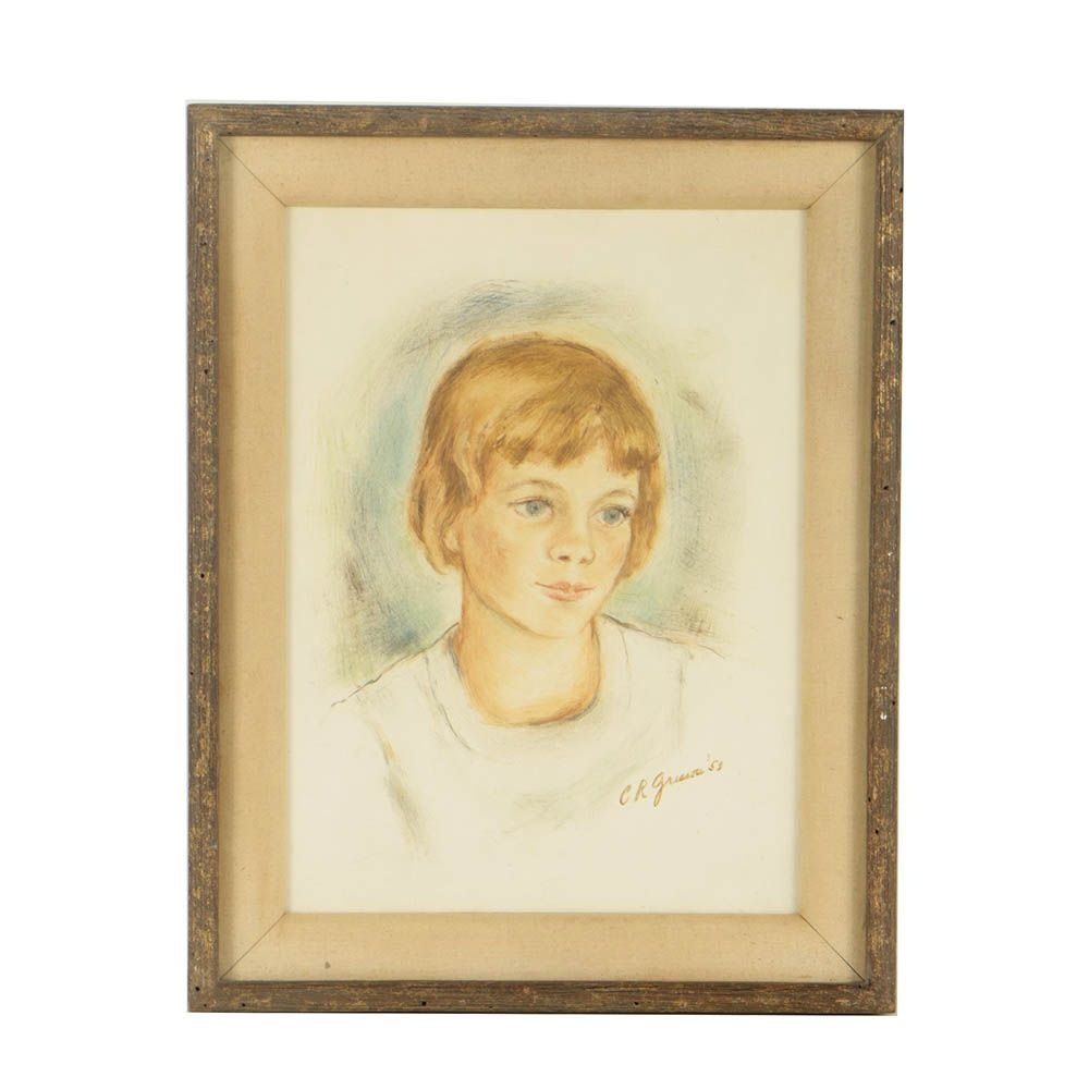 1953 Oil Painting on Board Portrait of a Young Woman