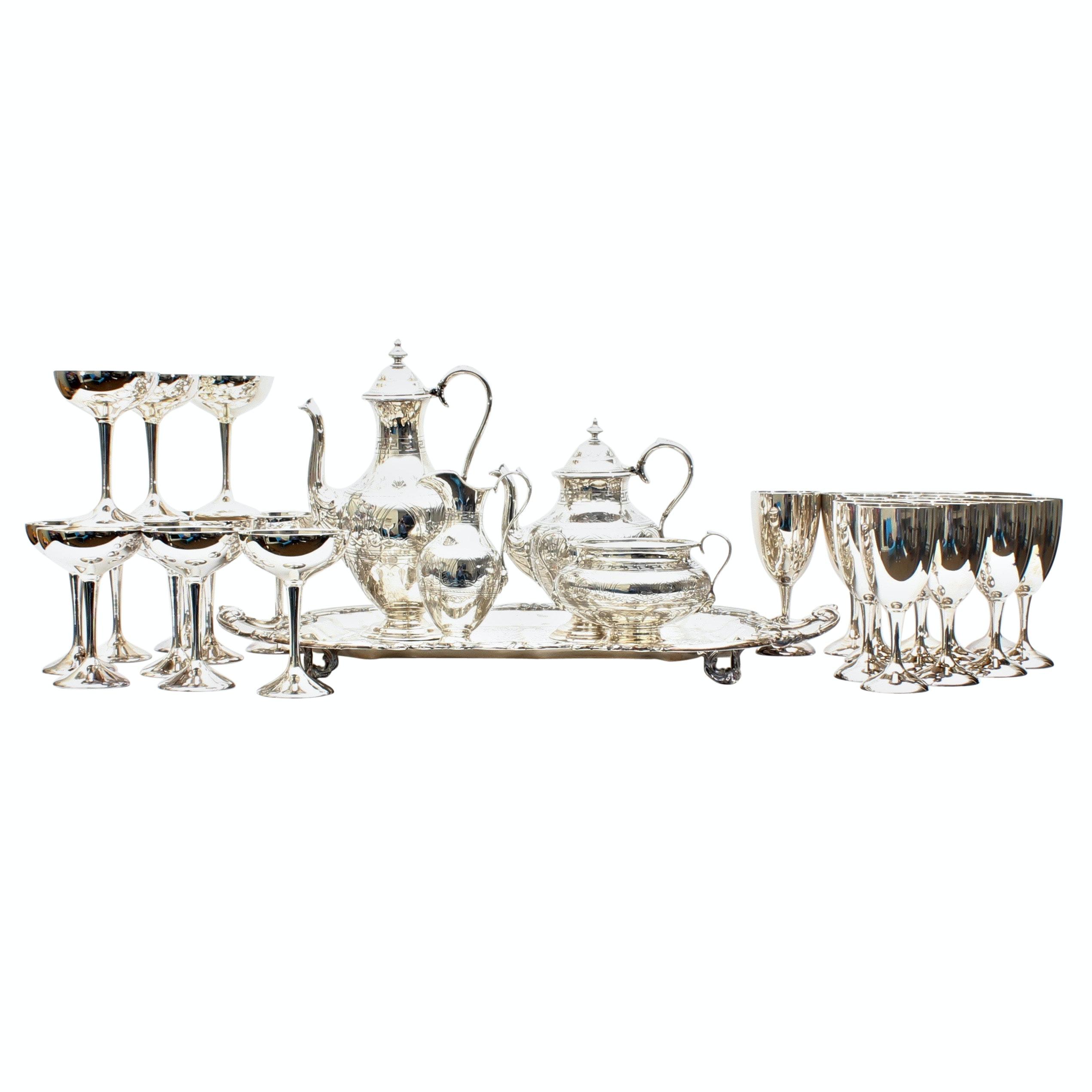 Silver Plate Stemware including a Thomas Prime Tea Service