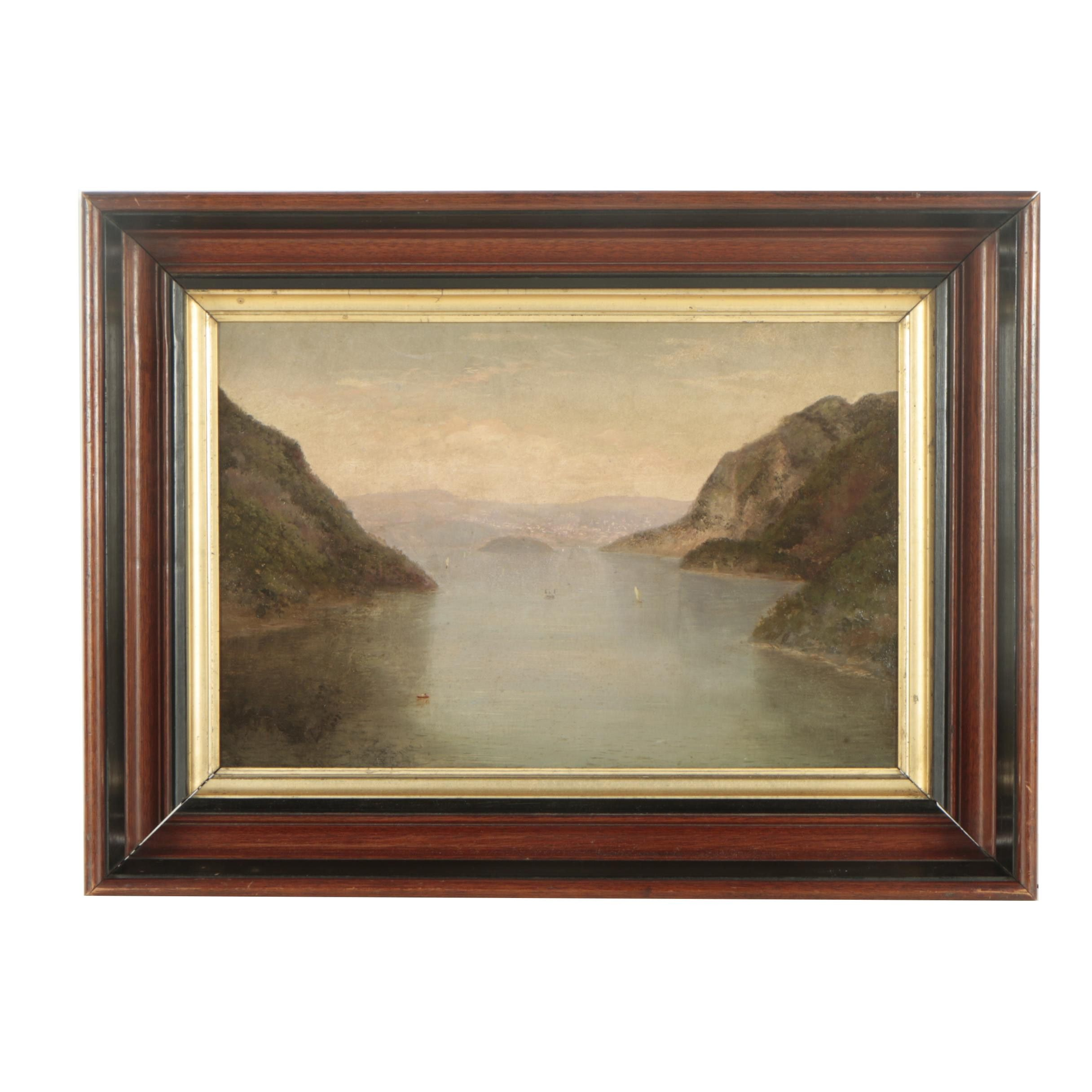 19th Century Oil Painting of a Mountain Lake Landscape