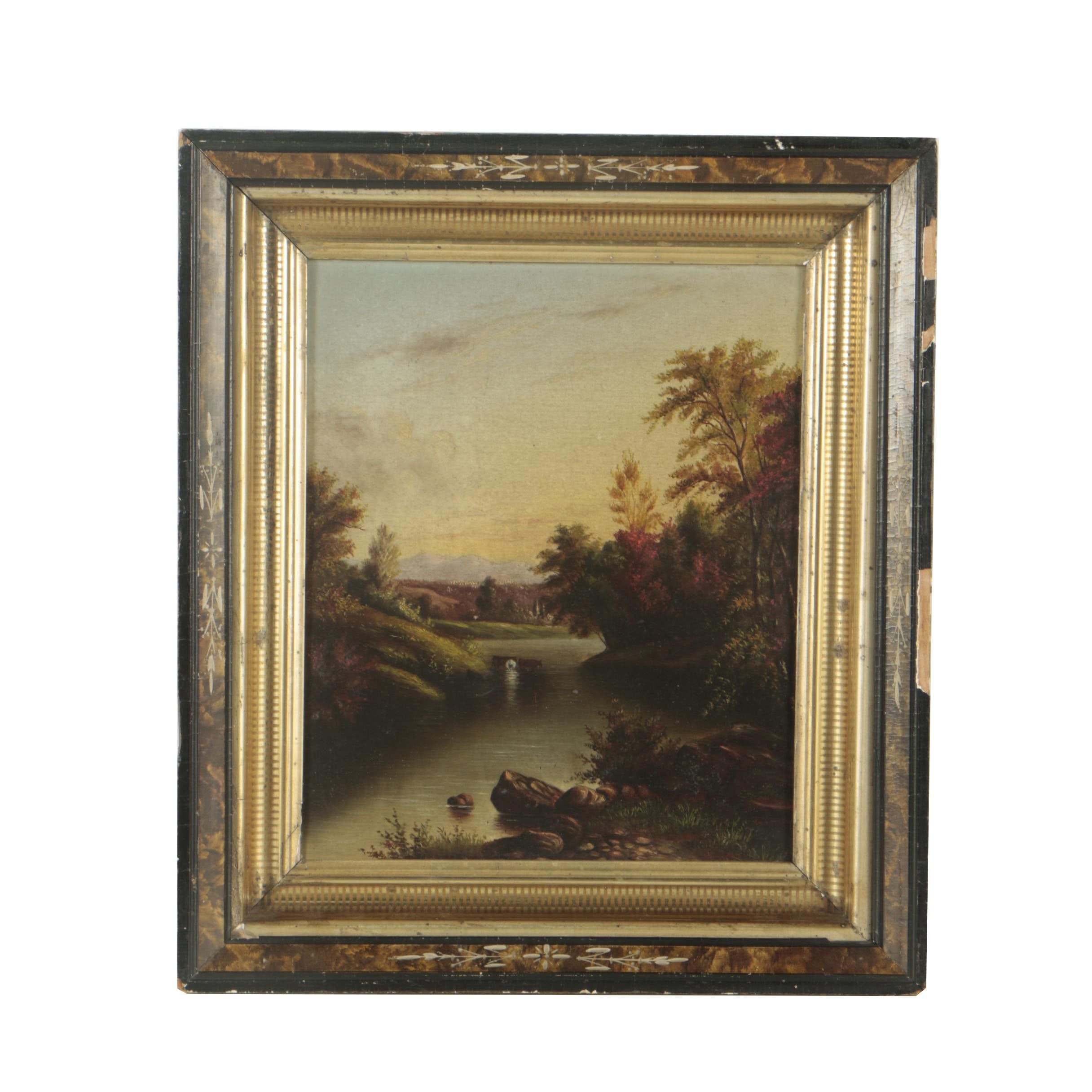 19th Century Oil Painting of a River Landscape