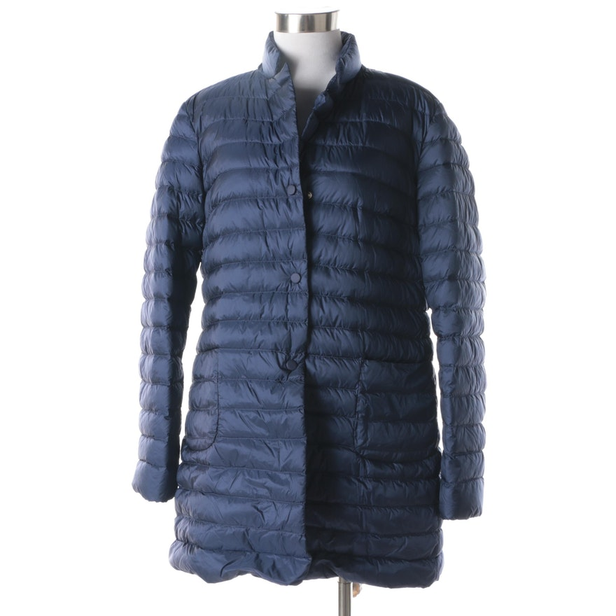 Womens 1970 Nineteen Seventy Navy Quilted Puffer Jacket Ebth