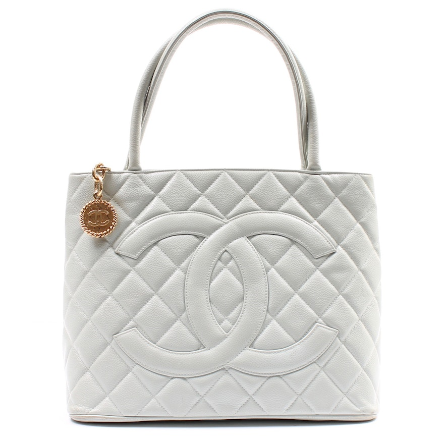 a9cffa57095b08 Chanel Quilted Pale Grey Caviar Leather Medallion Tote : EBTH
