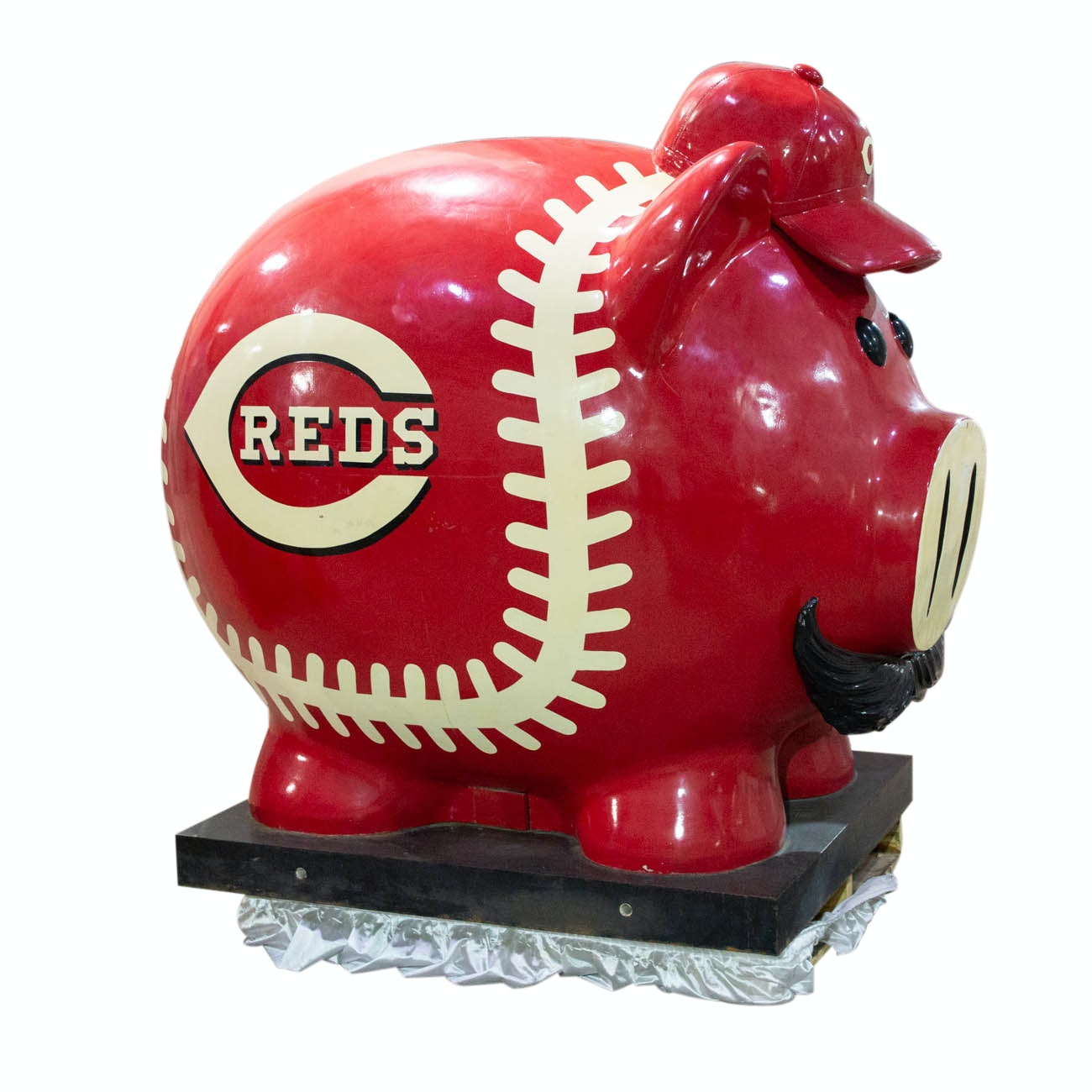 Massive Reds Piggy Bank From Great American Ball Park With Stairs COA