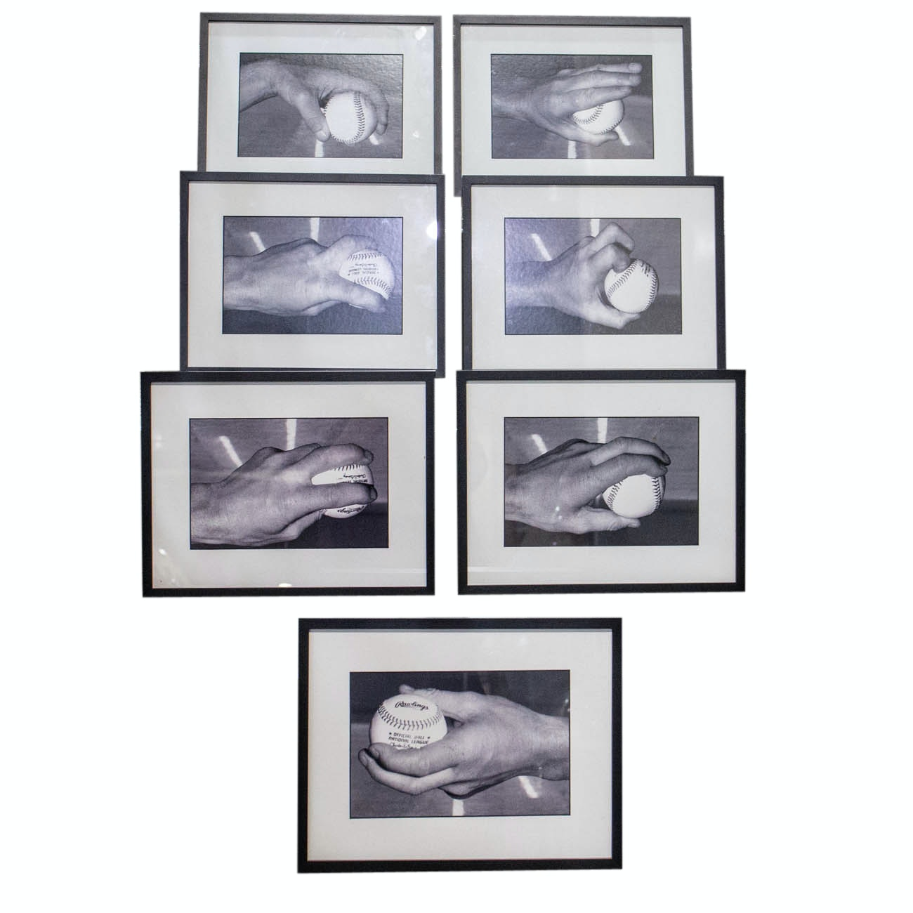 Seven Framed Photographs Of Pitching Grips From The Cincinnati Reds COA