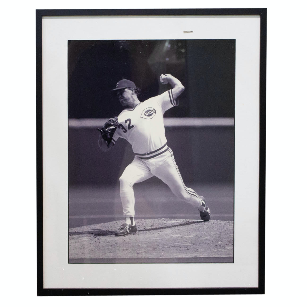 Pitching Great Tom Browning Matted and Framed Photograph From The Reds COA