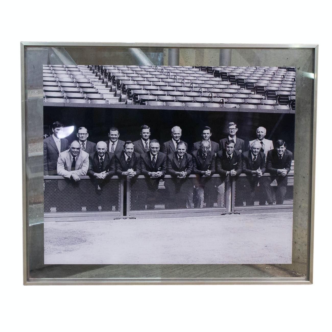 1970 Framed Photograph of Cincinnati Reds Dignitaries In Riverfront Dugout COA