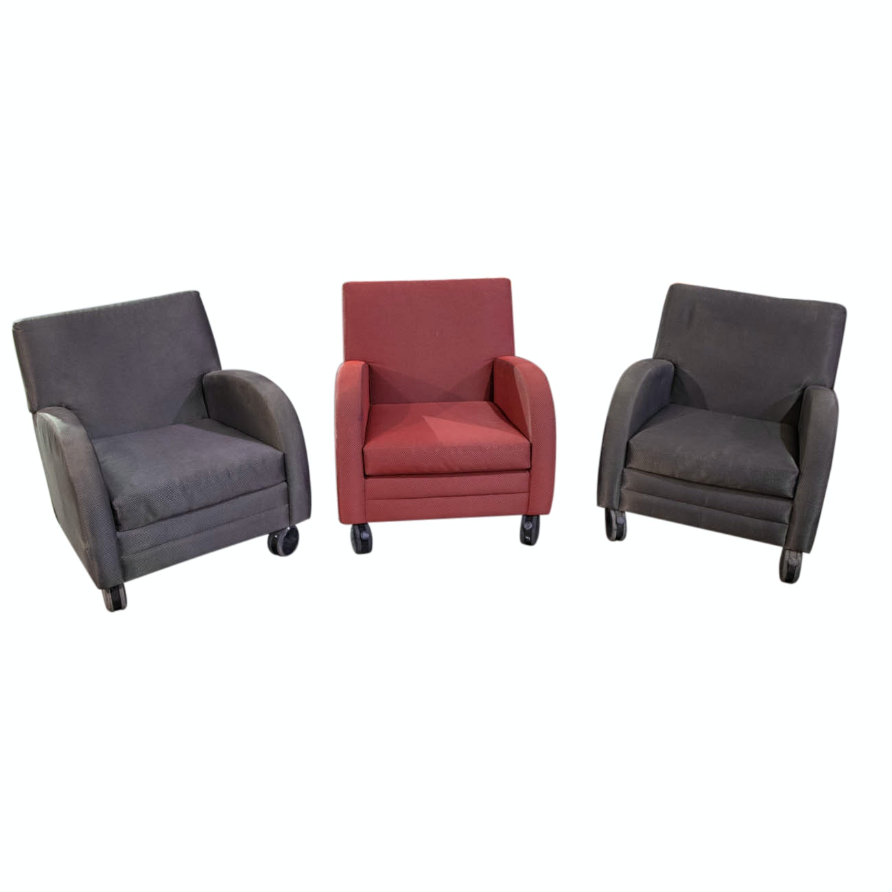 Three Modern Style Upholstered Chairs From Great American Ball Park COA