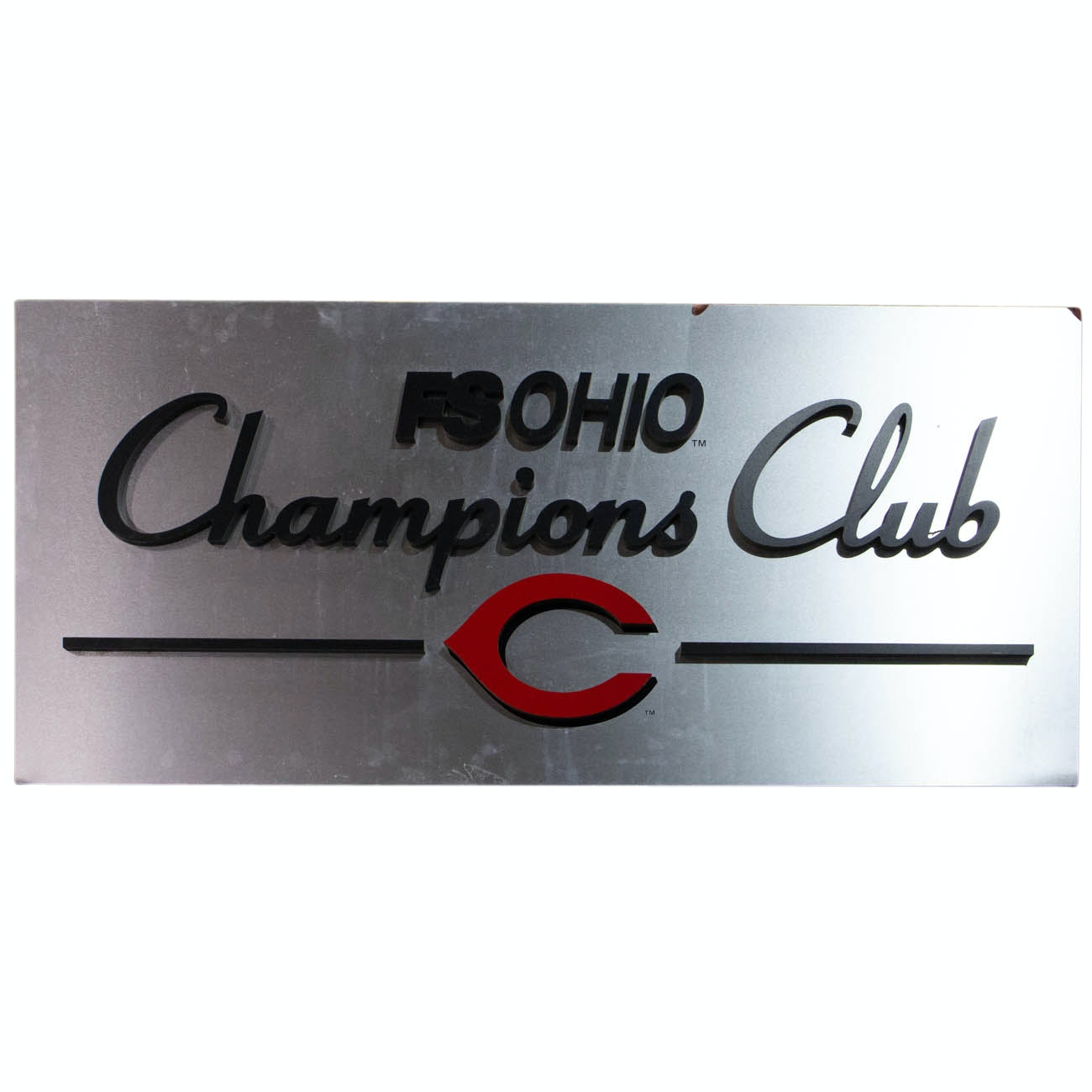 Fox Sports Ohio Champions Club Metal Sign From Great American Ball Park COA