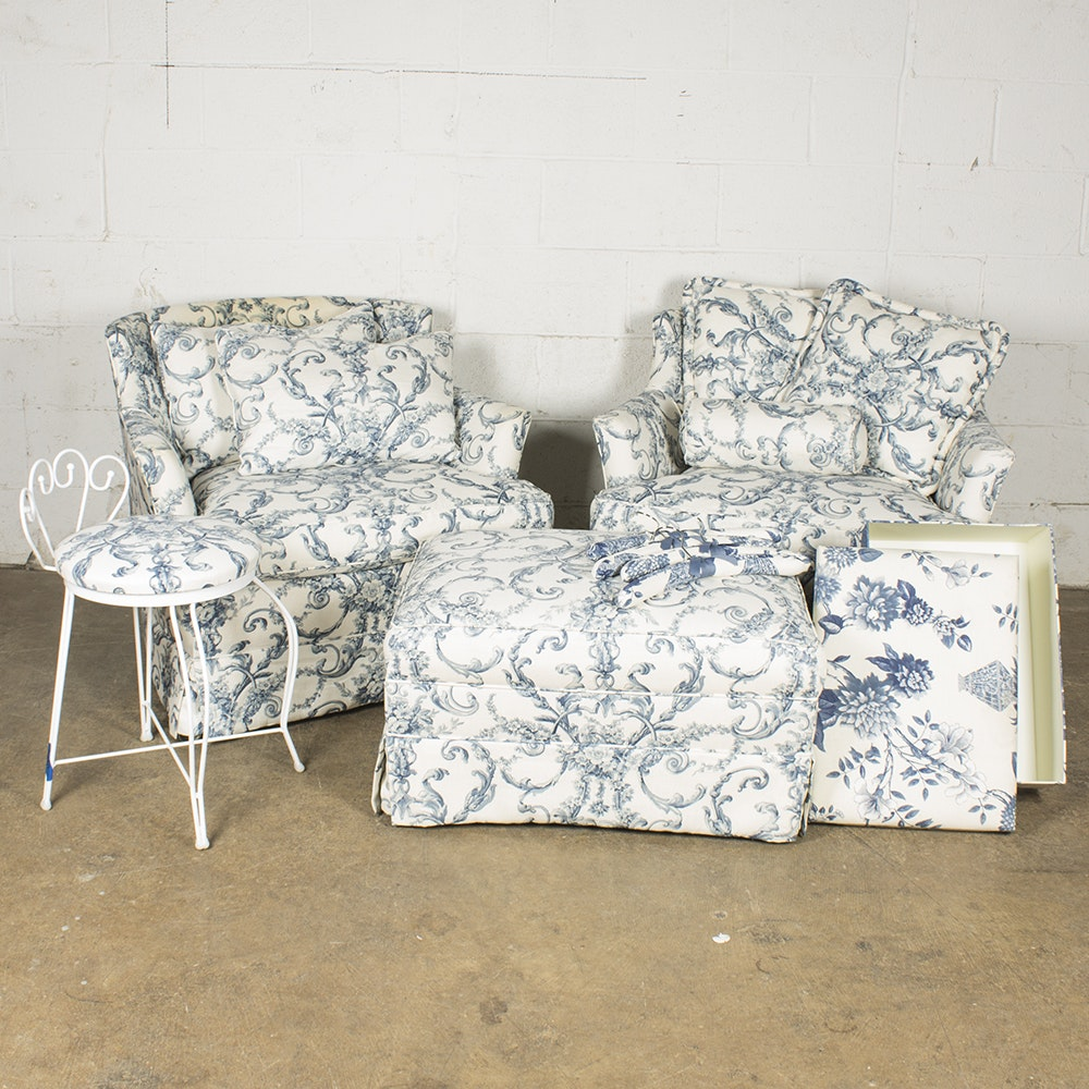 Blue and White Upholstered Armchairs, Ottoman, and Vanity Stool