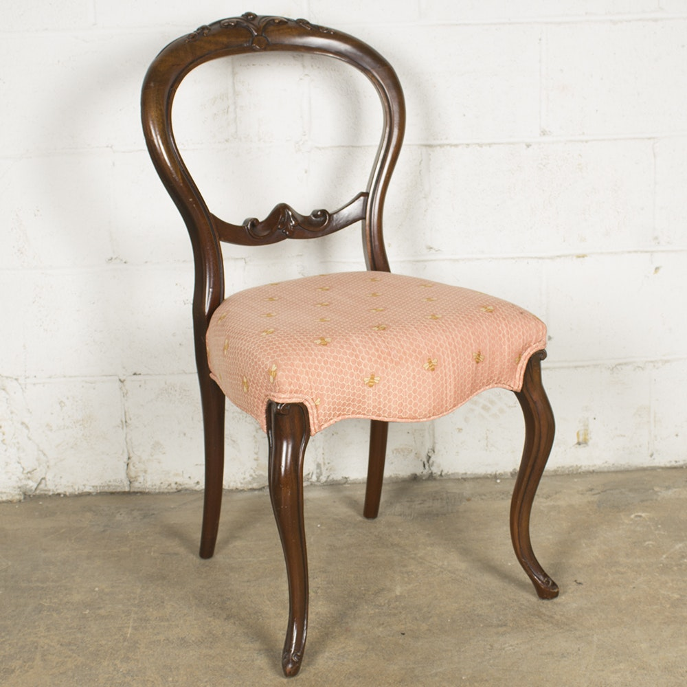 Vintage Victorian Style Upholstered Side Chair