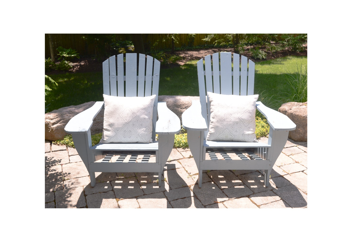 Painted Adirondack Style Wooden Chairs with Accent Pillows