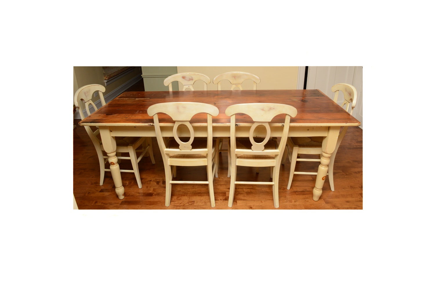 Country Style Pine Dining Table with Chairs