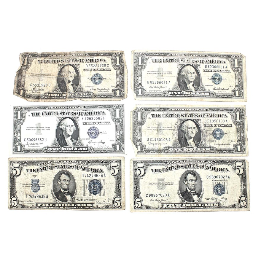 Vintage One Dollar And Five Dollar Silver Certificates Ebth