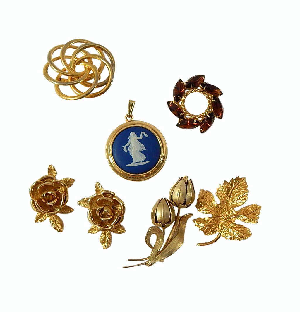 Wedgwood Pendant, Sarah Coventry Clip Earrings, Brooches