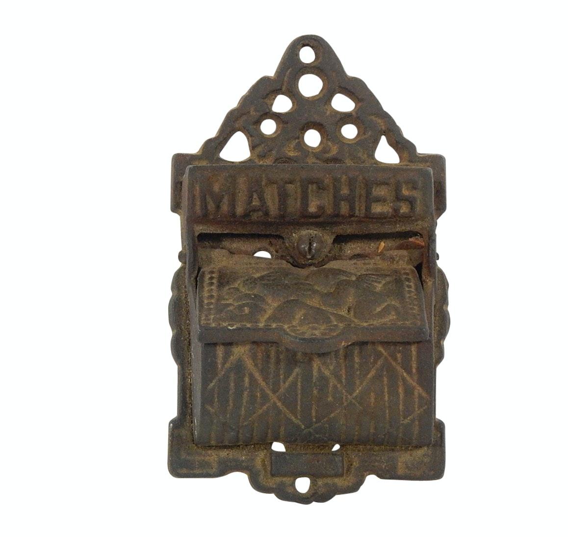 Vintage Cast Iron Wall Mount Match Safe