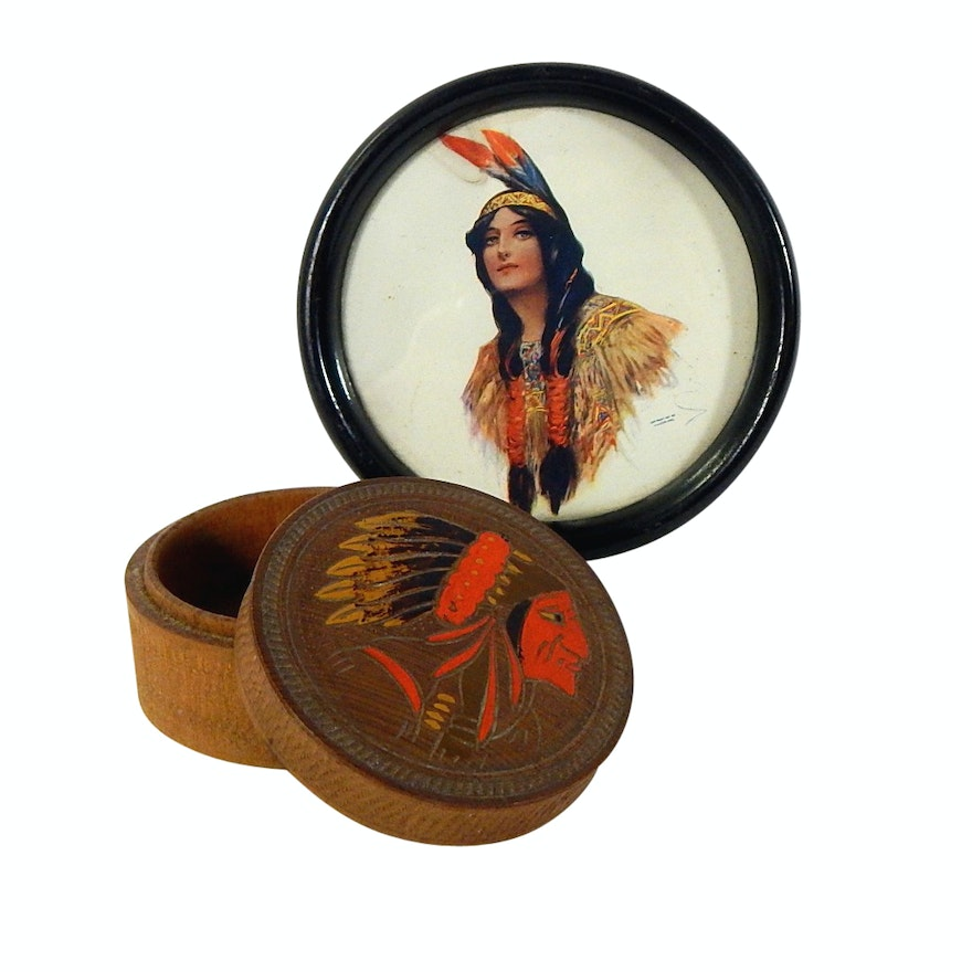1907 Advertising Native American Framed Print and Carved Wood Trinket