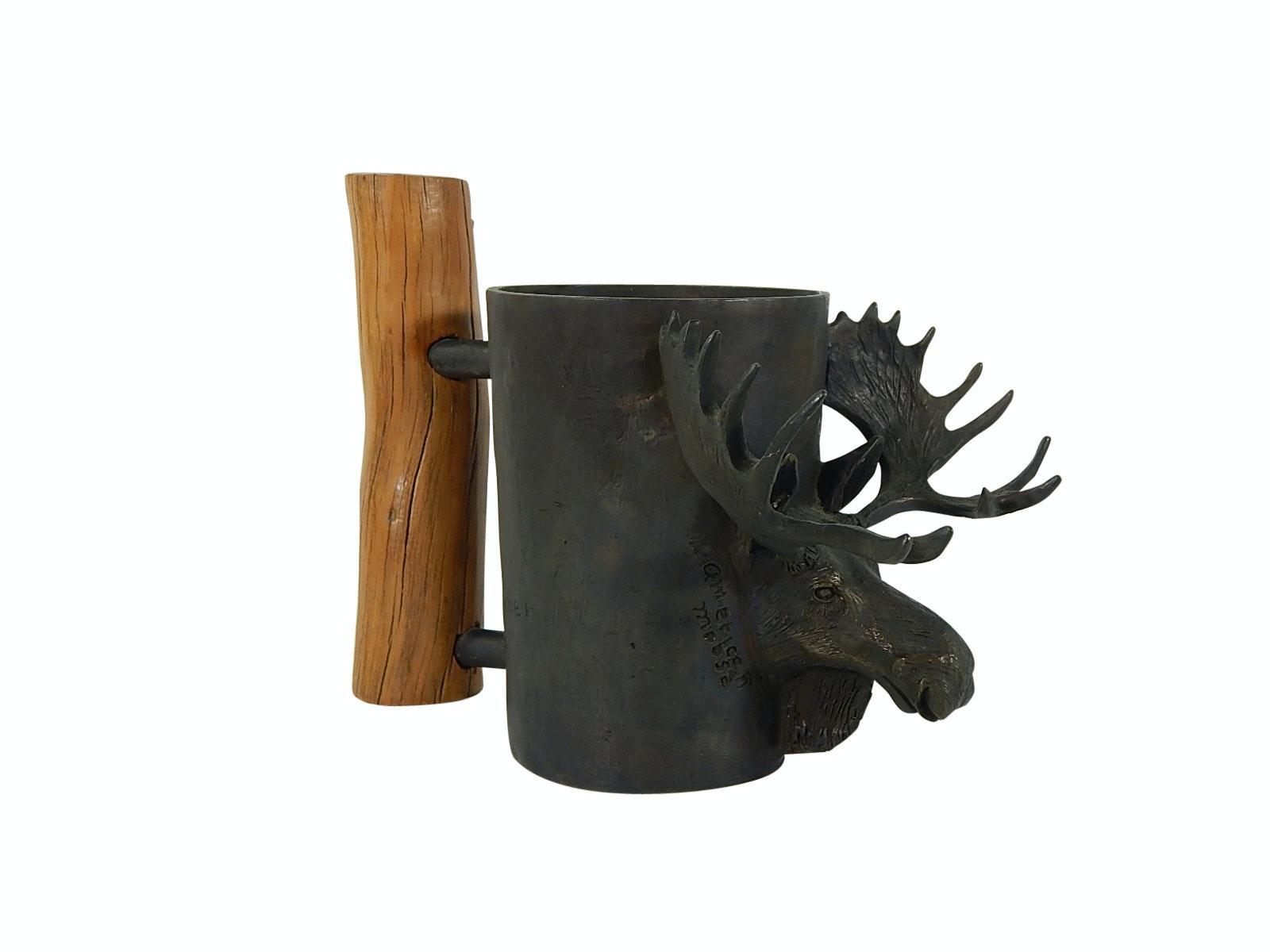 1979 Signed Carl Wagner Bronze American Moose Mug with Wood Handle