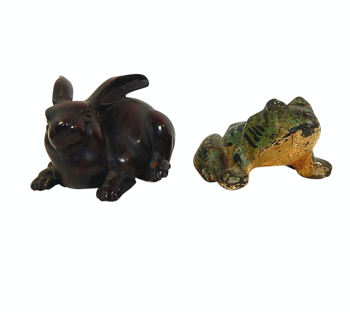 Two Cast Iron Door Stops - Rabbit and Frog
