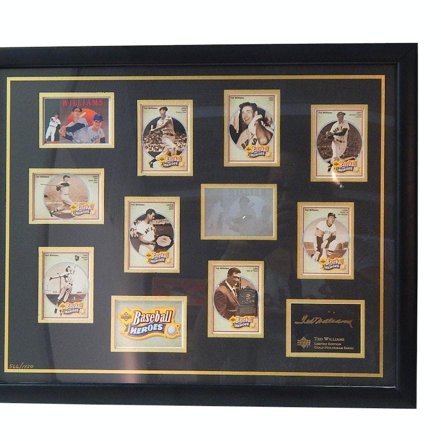 Upper Deck Baseball Heroes Hof Ted Williams Le Gold Card Hologram Series Framed