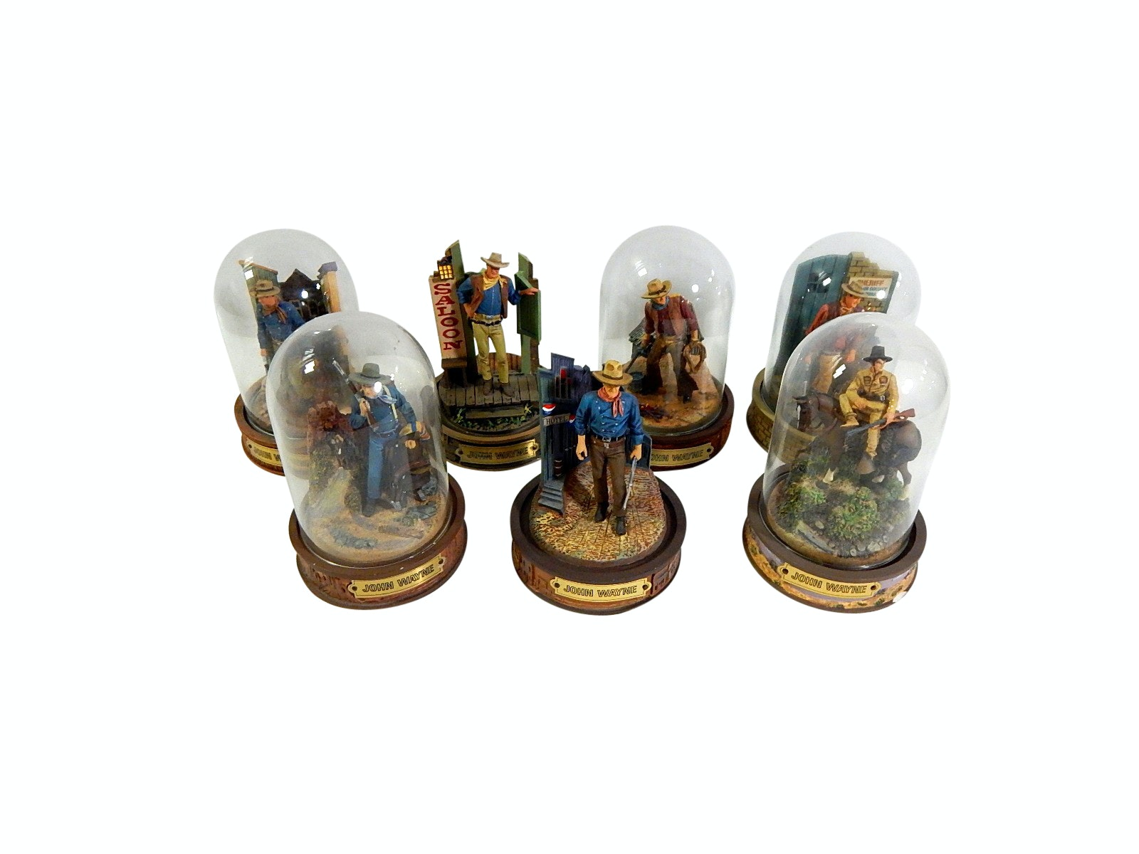 Franklin Mint John Wayne Hand Painted Limited Sculptures with Glass Domes