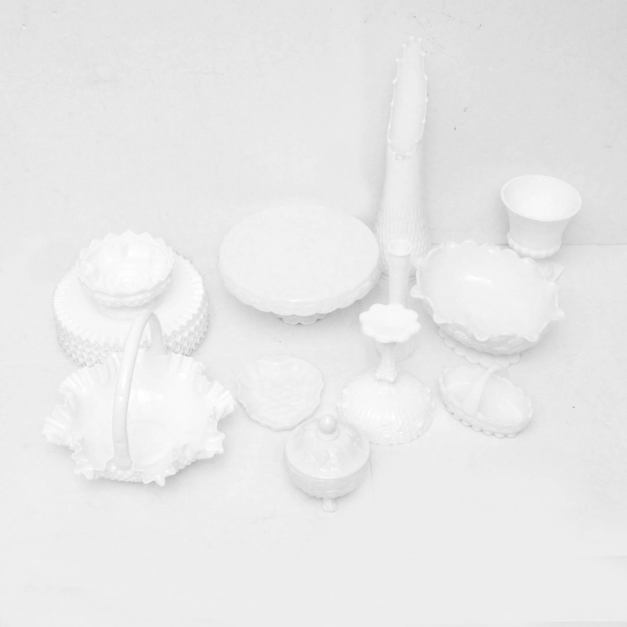 Milk Glass Tableware and Decor