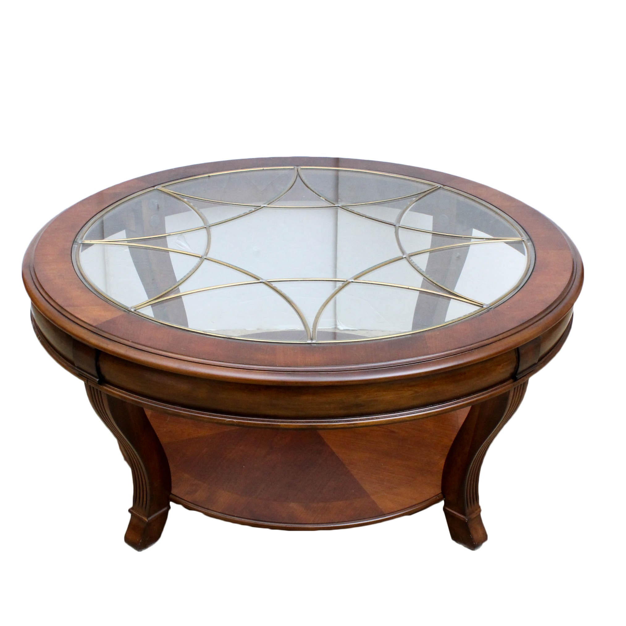Hooker Furniture Glass Top Cherry Veneer Coffee Table