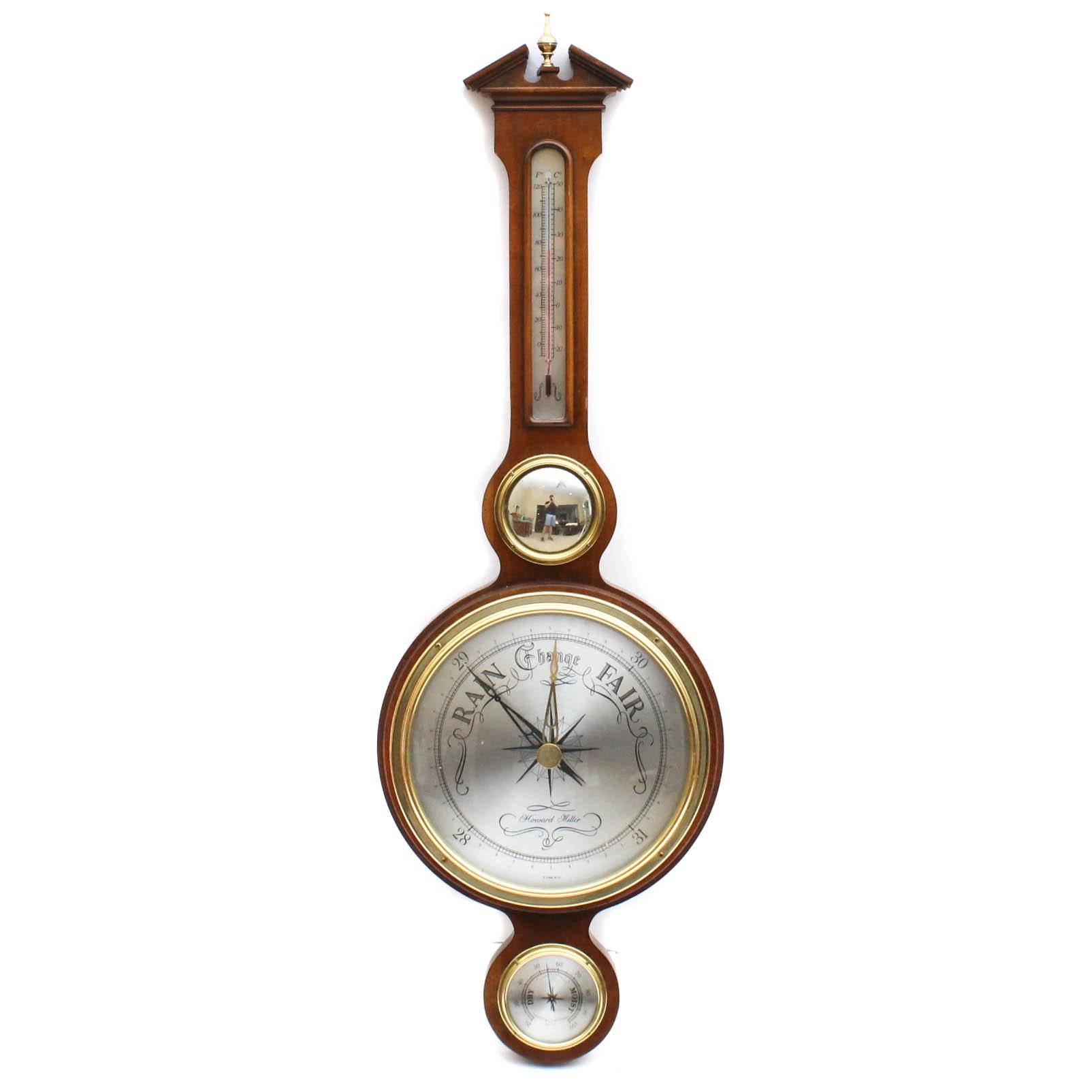 Vintage Howard Miller Cherry Wall Barometer Weather Station