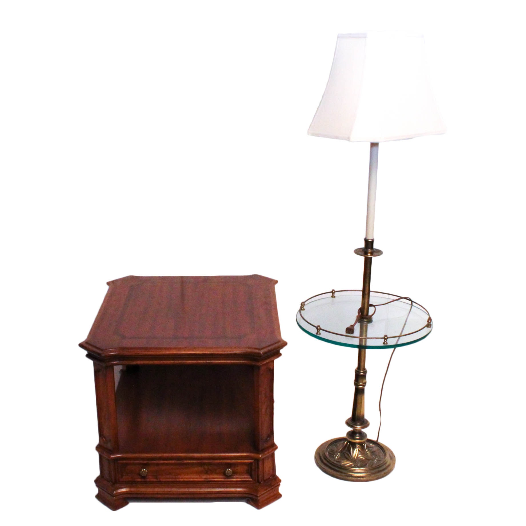 Weiman Hardwood Side Table with Brass and Glass Lamp Table