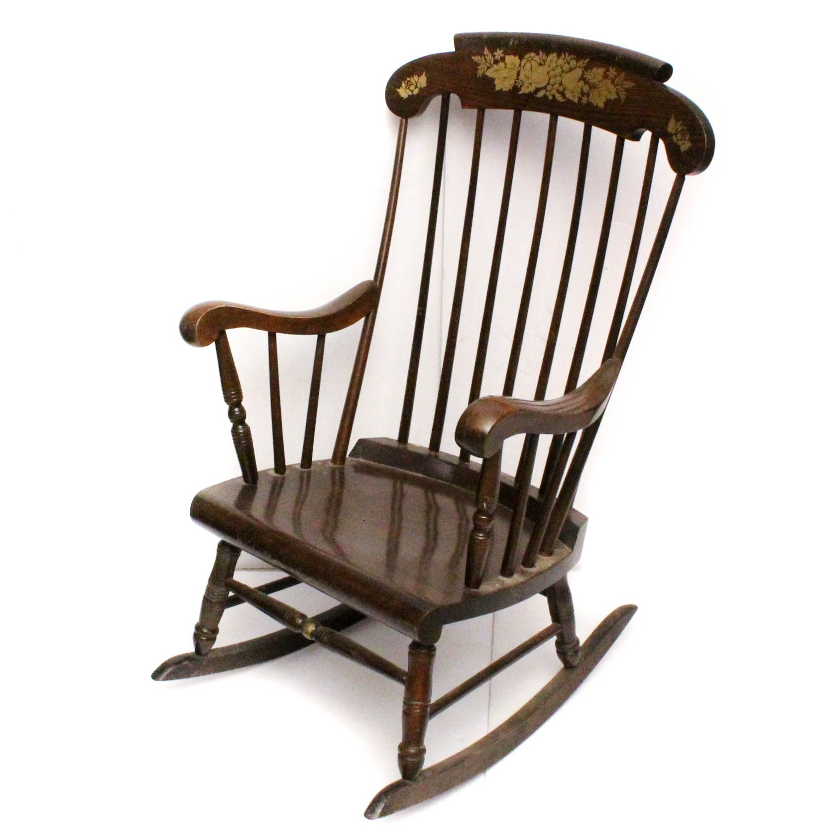 Vintage Yugoslavian Hitchcock Style Pine Rocking Chair