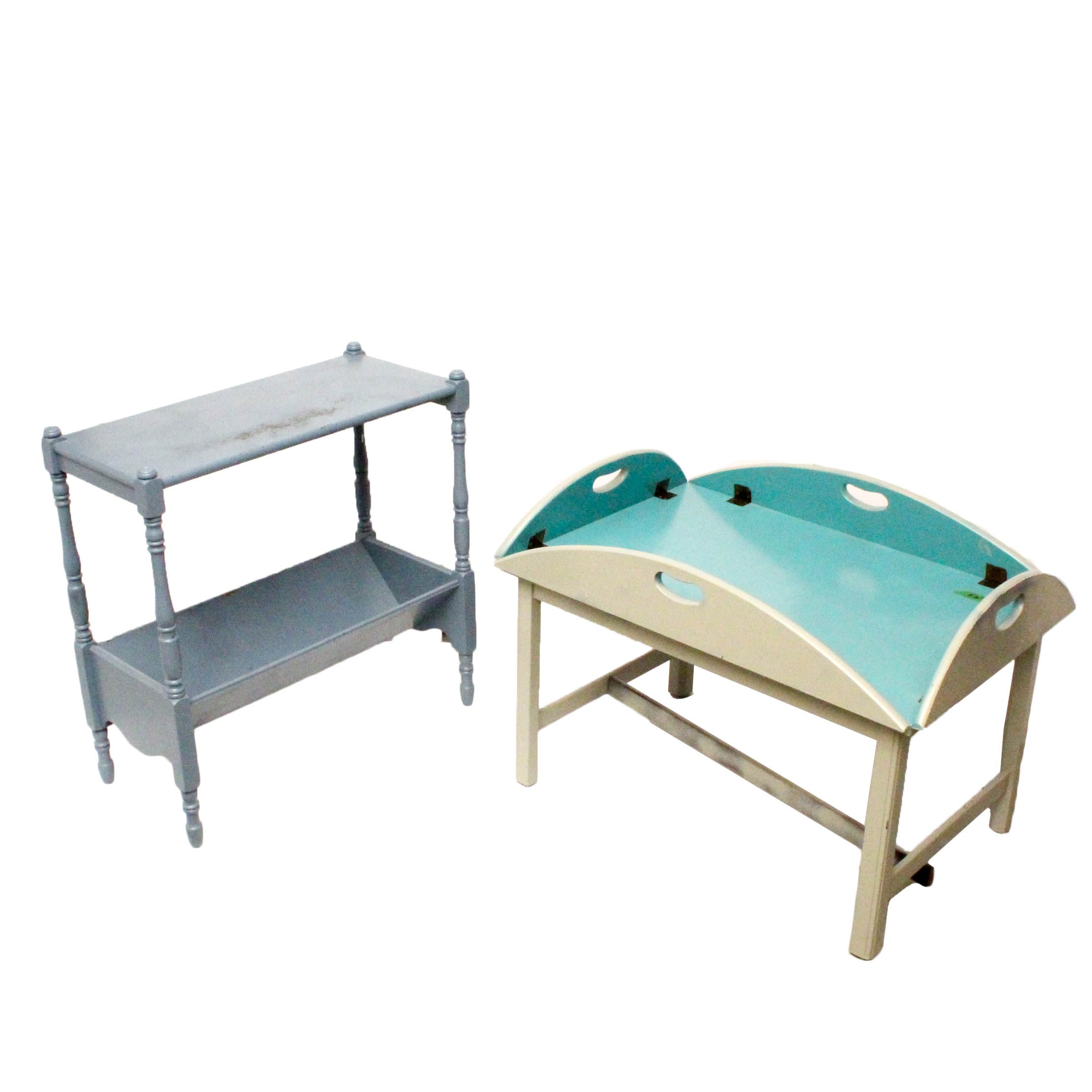 Painted Wooden Butler's Table and Magazine Table