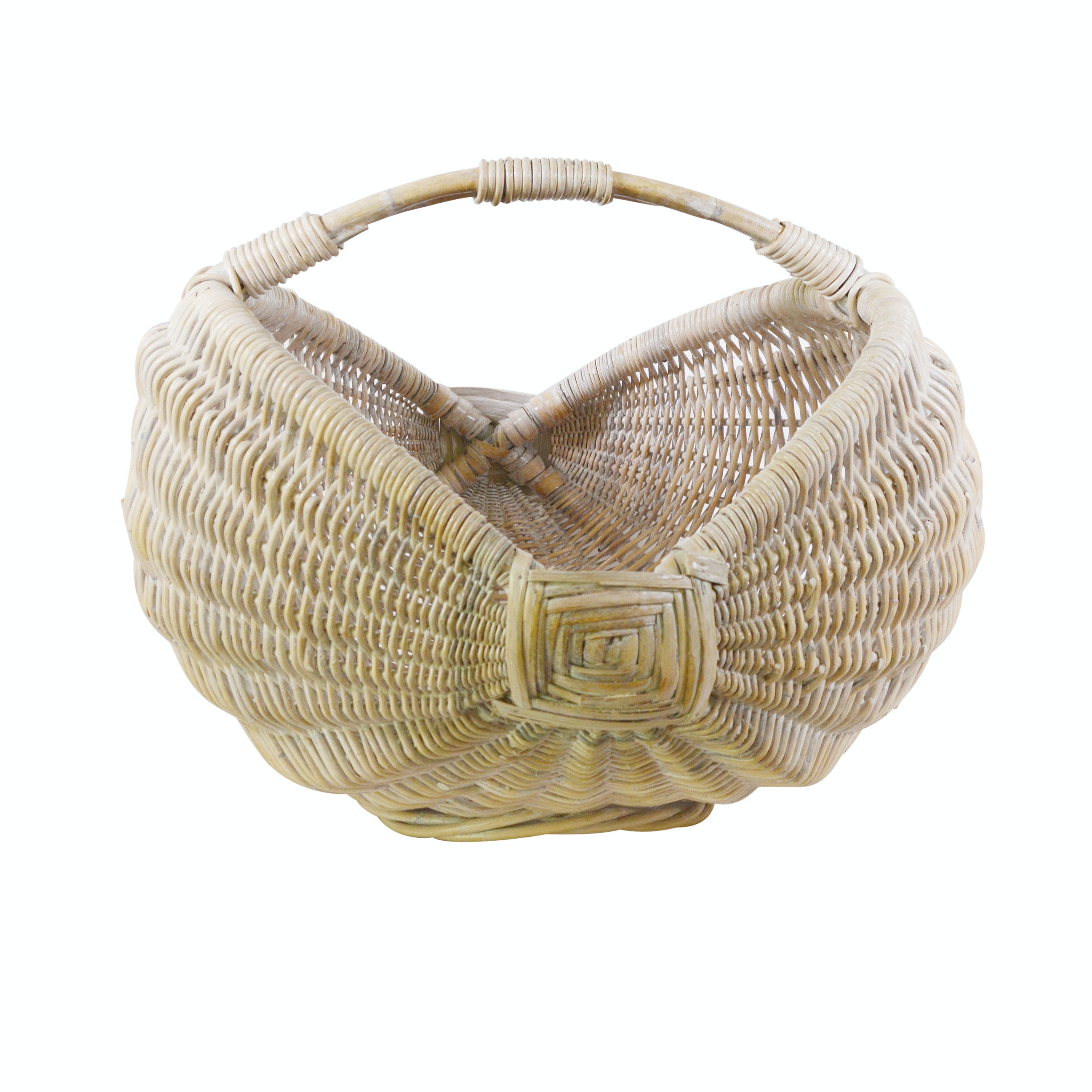 Curved Wicker Basket With Handle
