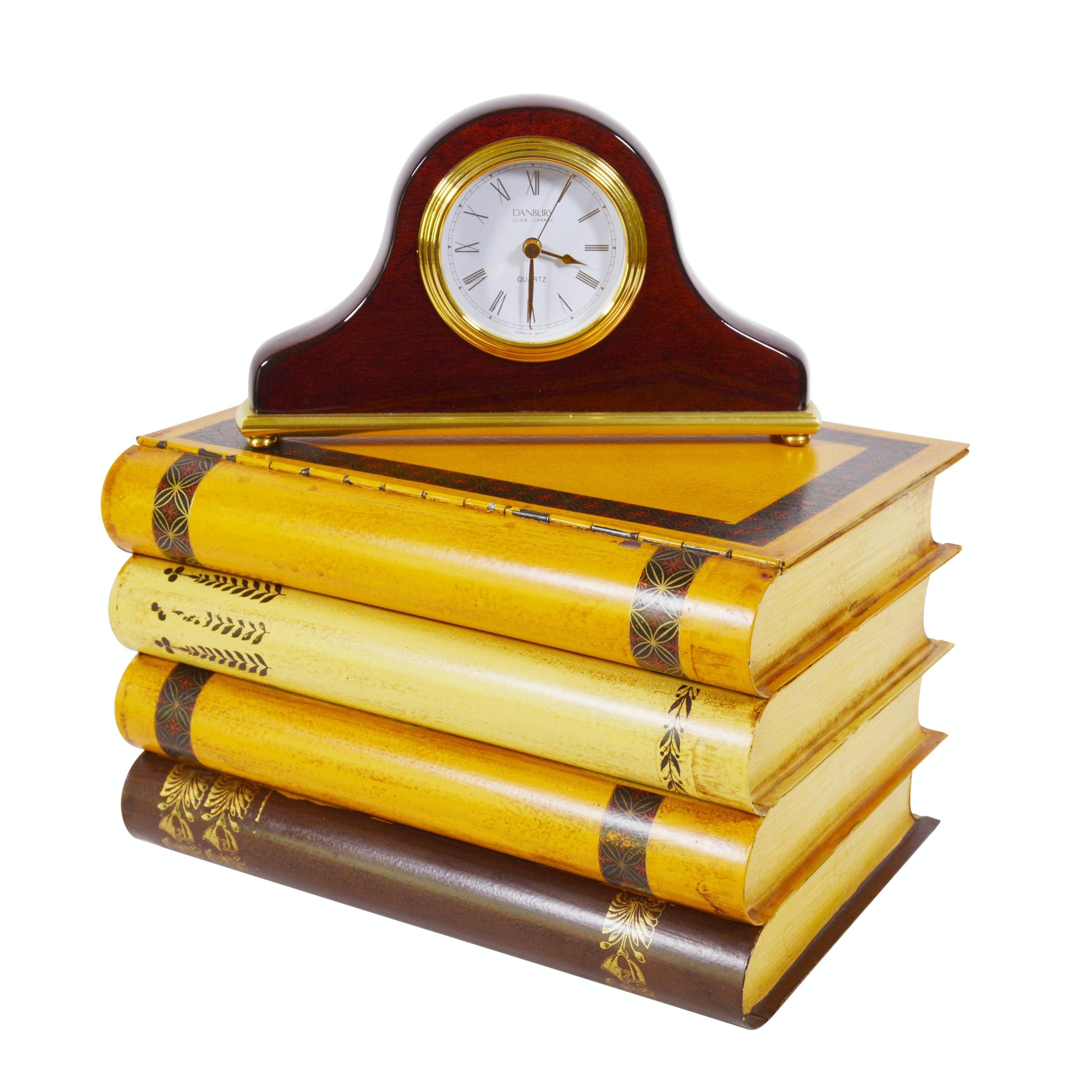 Italian Metal Faux Book Box and Danbury Quartz Mantel Clock