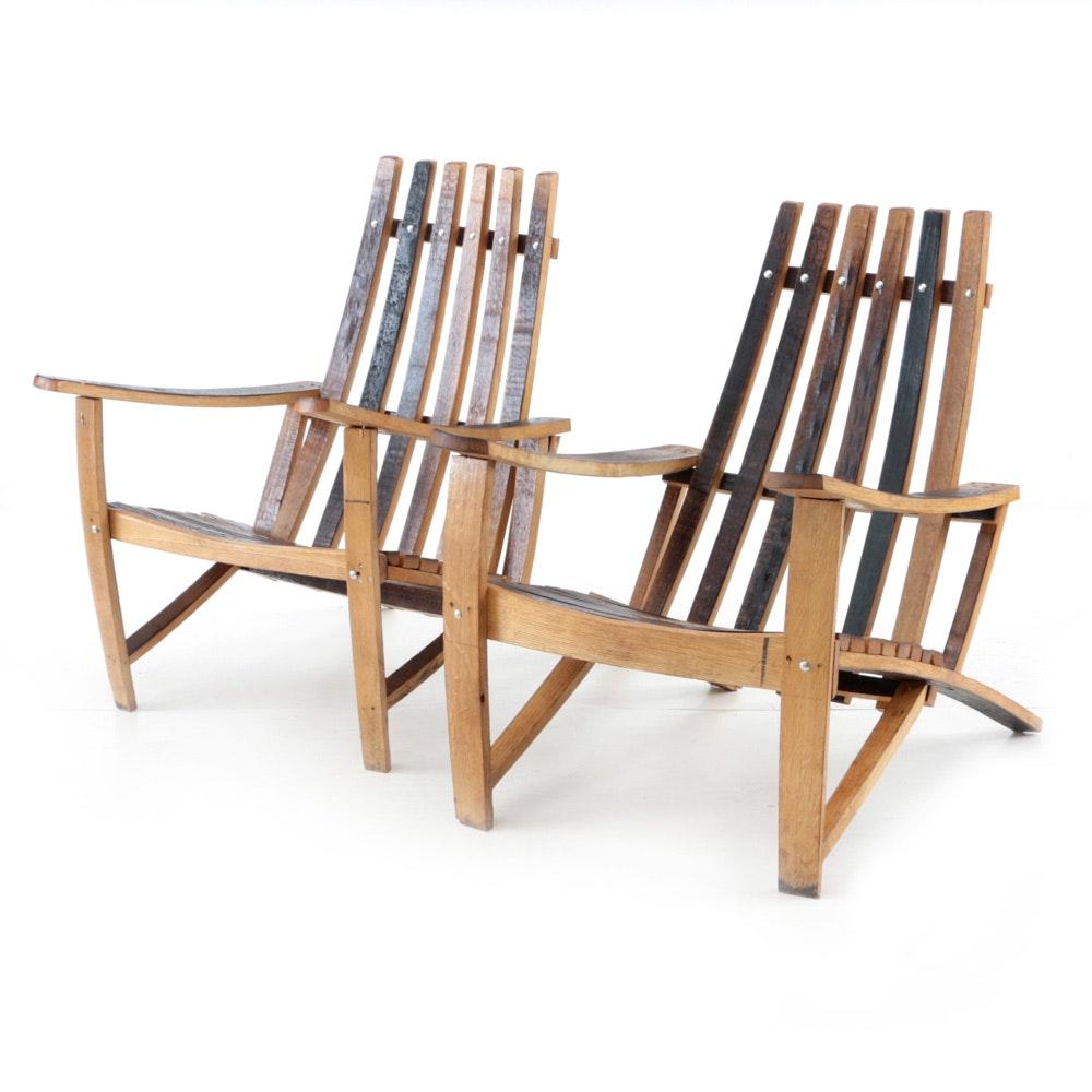 Pair Of Retired Whiskey Barrel Oak Adirondack Chairs ...