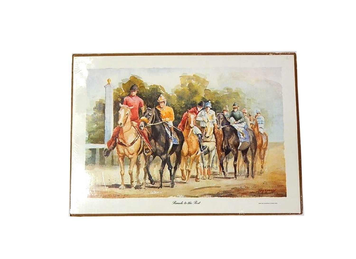 """Unframed Signed Lithograph """"Parade to the Post"""" after Tony Oswald"""